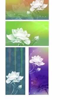 白色莲花绚丽底纹背景设计