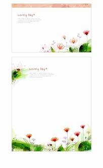 清新花朵信纸模板
