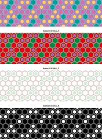 矢量底纹插图四款彩色的蜂窝六边形横幅