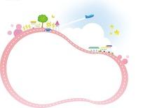 卡通边框—装饰着房屋飞机和绿树的粉色边框