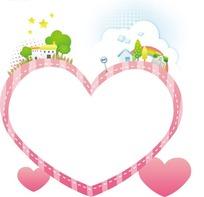 卡通边框—装饰着绿树房屋和五角星的粉色心形边框
