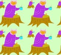 动物底纹—树桩上喝茶的猫头鹰构成的图案