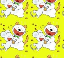 黄色背景上开心可爱小猫和老鼠底纹设计
