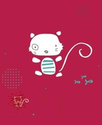 卡通动物插画有眼圈的长尾巴小猫