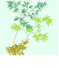 蓝色背景上的绿色插画竹子