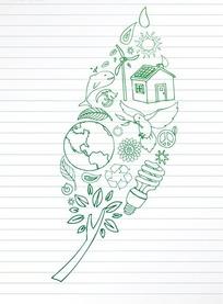 环保插画单行线上组成叶子的地球绿树节能灯图案
