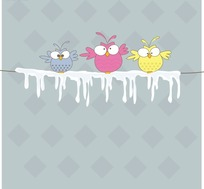 站在冰电线上可爱的小鸟