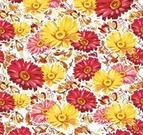花卉背景素材—黄色粉色红色非洲菊构成的图案
