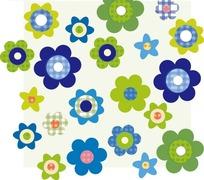 浅绿色方形前的各色花朵构成的图案
