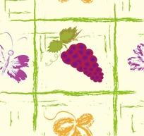水果插画手绘九宫格的紫色葡萄