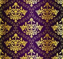紫色背景上的金色菱形边框和金色菱形花纹