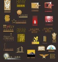 各种形状的金色比华利房地产标志设计