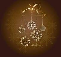 圣诞球和雪花底纹背景素材