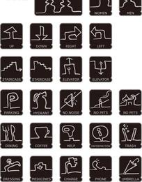 黑色简易线条公共场所指示图标素材