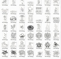 蝴蝶植物和吉祥物品拓印图