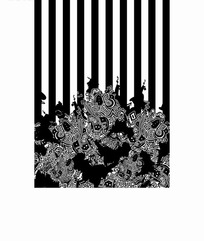 黑白线条狮子回纹底纹图案