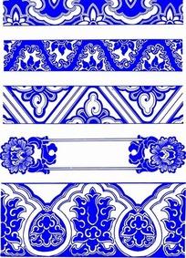 青花瓷花纹边框底纹图案