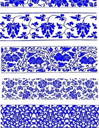 青花瓷寿字植物花纹底纹图案