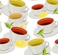 白色背景柠檬杯子图案
