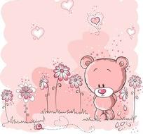 插画—草地上的花朵和可爱的小熊