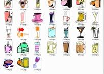 饮料啤酒杯子插画合辑—饮料杯高脚杯牛奶盒子以及啤酒杯