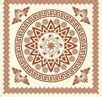 装饰图案—花纹边框内的花纹边角和圆形图案
