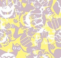 万圣节背景素材—黄色背景上的猫咪和鬼脸
