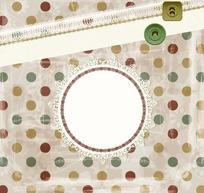彩色圆点背景上的蕾丝边框和图标