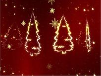 圣诞视频 红色背景的发光圣诞树 天使 和雪花