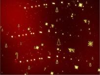 圣诞视频 红色星空里舞动的金色光芒的圣诞饰物