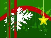 圣诞视频 旋转的雪花前舞动的精致圣诞吊饰