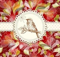 手绘花朵和枝条中间的蕾丝花边边框和树枝上的鸟