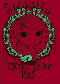 枚红色背景上的绿色边框和可爱手绘美女头像