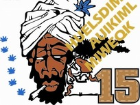 卡通人物插画-抽烟的阿拉伯头像和叶子