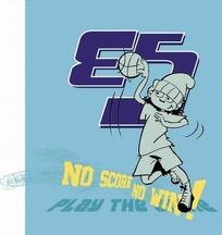 蓝色背景前的英文和手绘打篮球的男孩