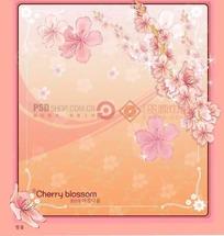粉色背景上的粉色边框和樱花插画