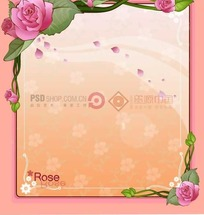 红色背景上的粉色边框和粉色玫瑰花插画