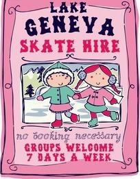冬季手牵手滑雪的孩子