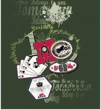 扑克牌和皇冠图案徽标
