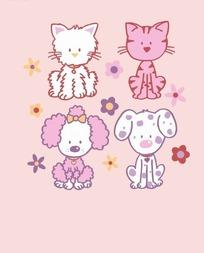 矢量印花图案-狗和猫和花朵