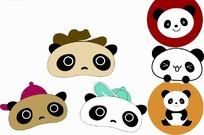 可爱的熊猫头像插画