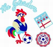 矢量卡通插画-脚踩在足球上的公鸡