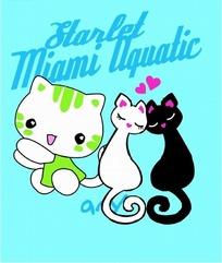 矢量卡通插画-蓝色背景的三只猫