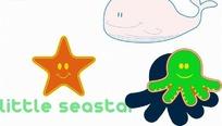 五角星和章鱼以及鲸鱼卡通画