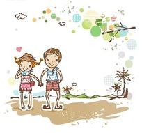沙滩上手牵手的男孩女孩卡通画