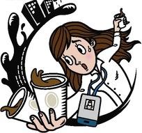 插画—端着咖啡杯的工作人员
