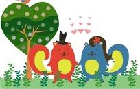 动物插画—手牵手的松鼠