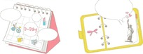 卡通插画 可爱的运动台历和环扣笔记本