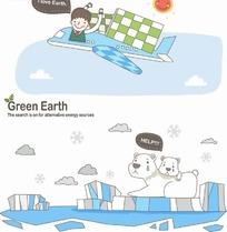 卡通人物插画-坐在飞机的小女孩和冰块上的北极熊