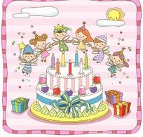 插画—生日蛋糕和手牵手的男女精灵